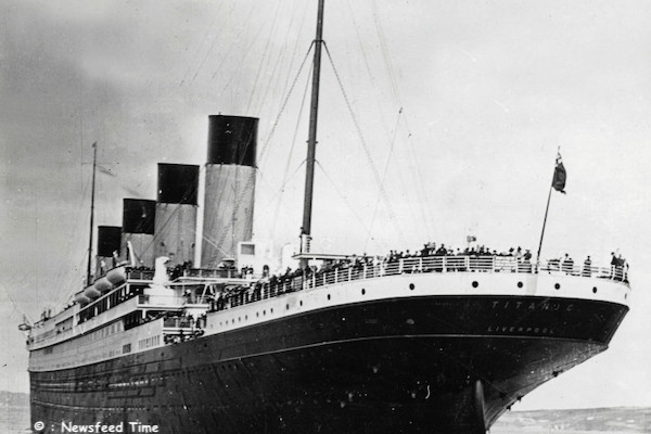 "April, 1912. The White Star liner ""Titanic"" leaving Queenstown harbour before making her maiden voyage en route for the USA. The ship struck an iceberg and sank near Newfoundland, killing 1550 people."