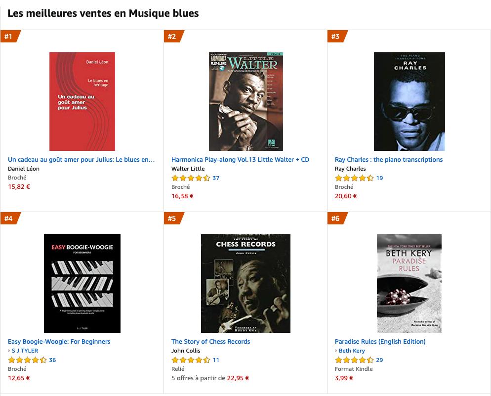 Mon livre en tête des ventes blues !